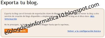 pantalla exportar tu blog