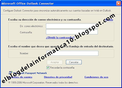 pantalla microsoft office outlook connector