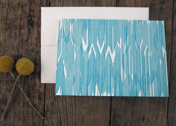 Bow and Arrow - Letterpress Teal Turquoise Ikat Cards