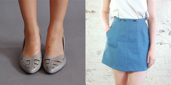 brown bag vintage - taupe kitten heels and denim wrap skirt