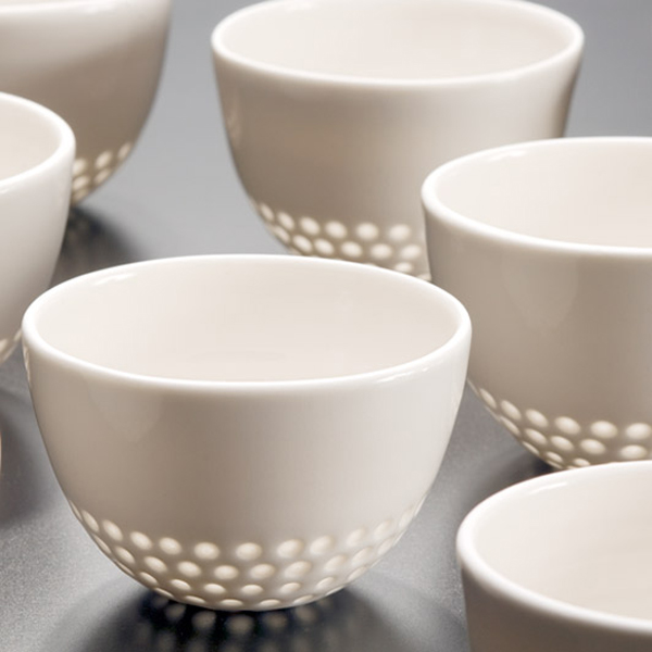 Eeva Jokinen - small modern rice grain porcelain cups
