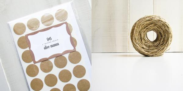 Olive Manna - round seals + natural jute twine