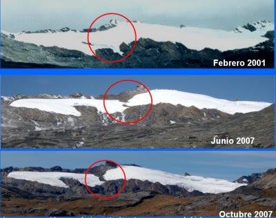 Descongelamiento del nevado pastoruri.