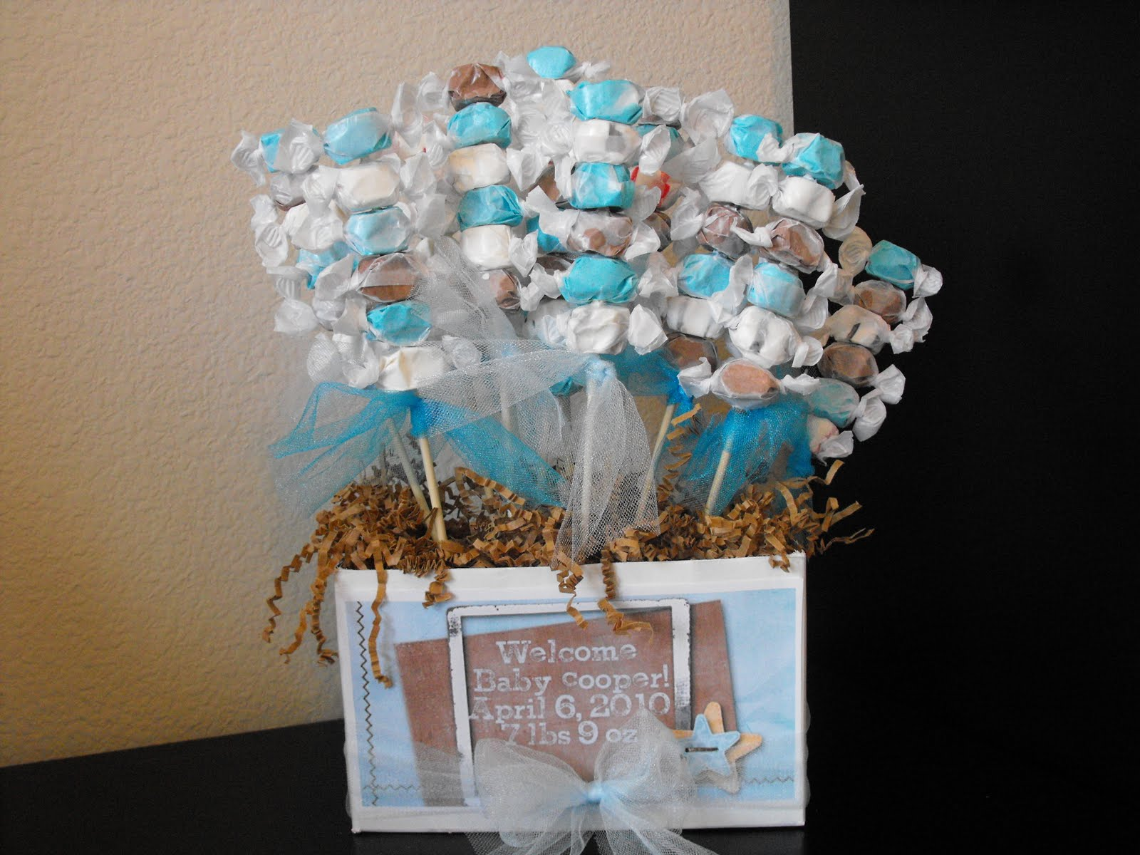 A little of this a little of that boy baby shower for Baby shower centerpiece decoration