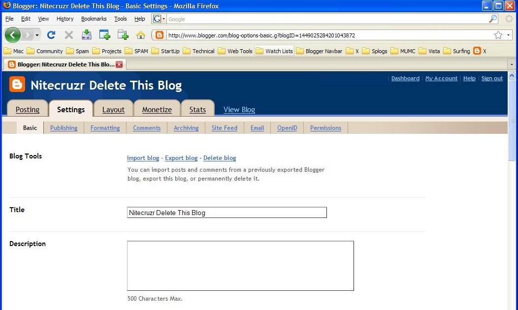 how to delete blogger account blogspot
