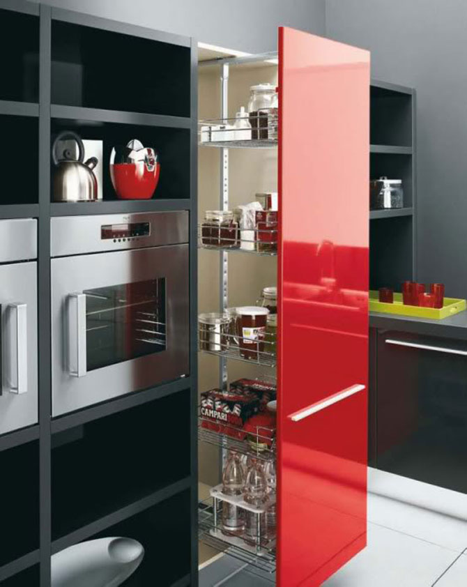 contemporary kitchens designs on Modern Kitchen Cabinets Black White Red Color