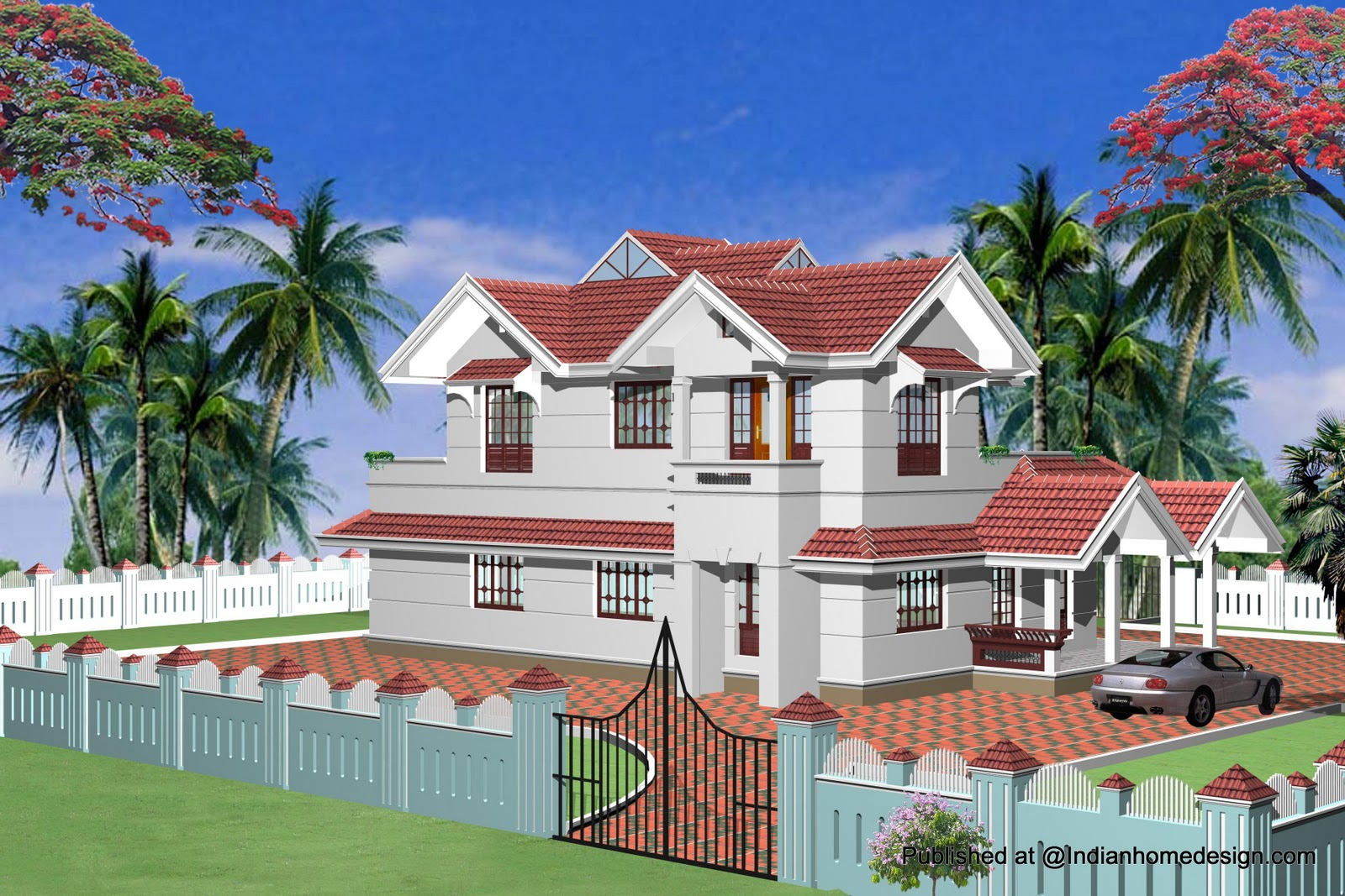 Indian Model House Plans Exterior Views   Home Design Inspiration