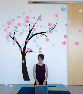 Cherry Blossom Tree Blowing in the wind wall decal