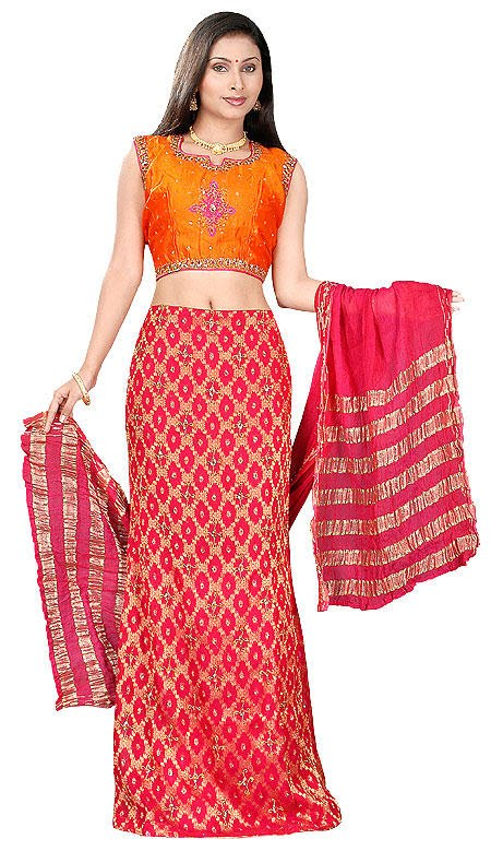 Red and Orange Indian Lehenga Choli Indian Bridal Dress 2010