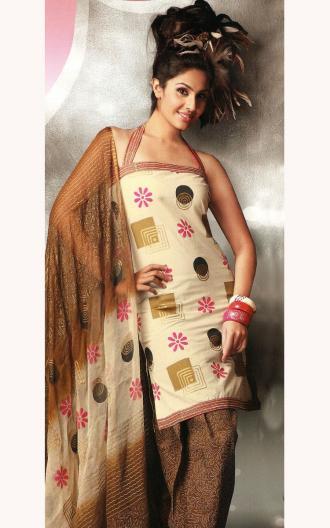 Hairstyles For Short Hair On Salwar Suits : wedding: Fone and Brown Punjabi Salwar Kameez - Cotton Short Kameez