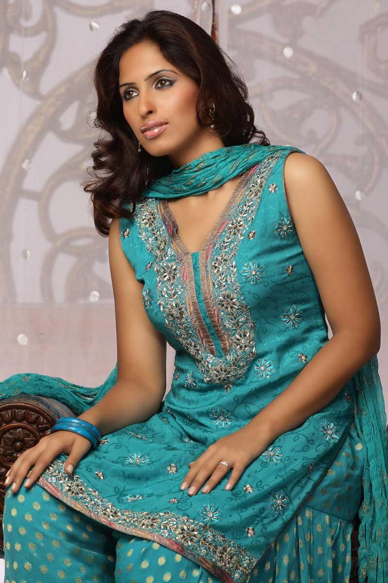 Patiala Salwar With Embroidered Kameez - Short Kameez, Punjabi ...