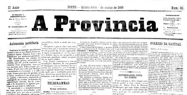 """Alberto Sampaio, correspondente em Guimarães do jornal """"A Província"""""""