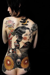 Japanese Geisha Back Piece Tattoo For Women