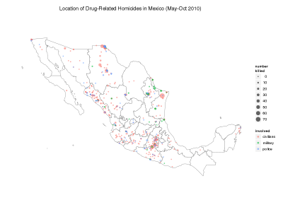 Mapping drug war related homicides in 2010