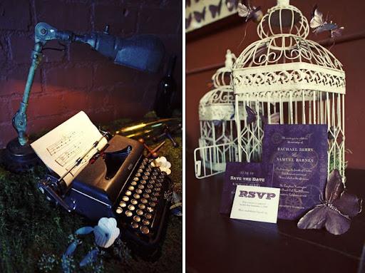 wedding decorations bird cage typewriter