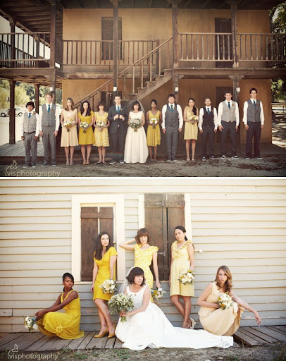 mismatched yellow bridesmaids dresses
