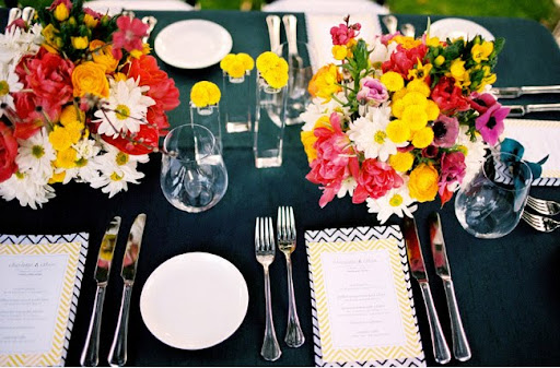 black yellow pink wedding
