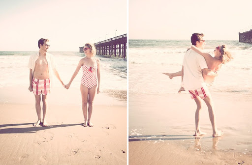 vintage beach engagement photos