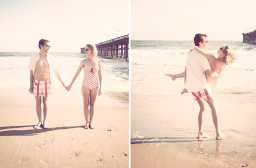 vintage beach engagement photos