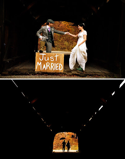 just married wooden sign