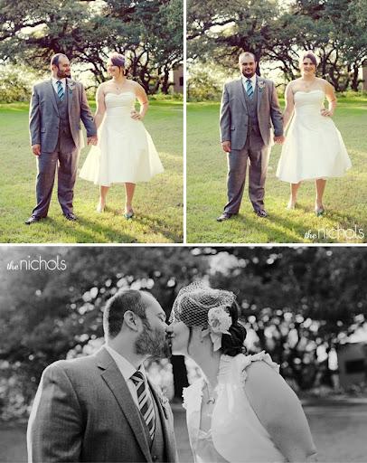 bride with blue shoes short dress