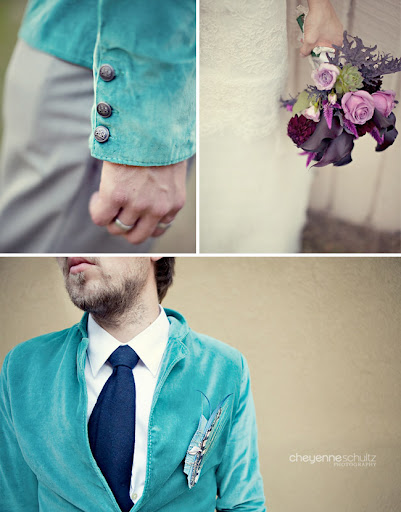 groom turquoise suit