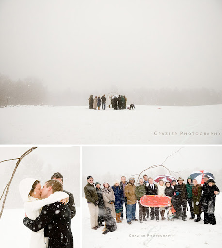 wedding ceremony in snow