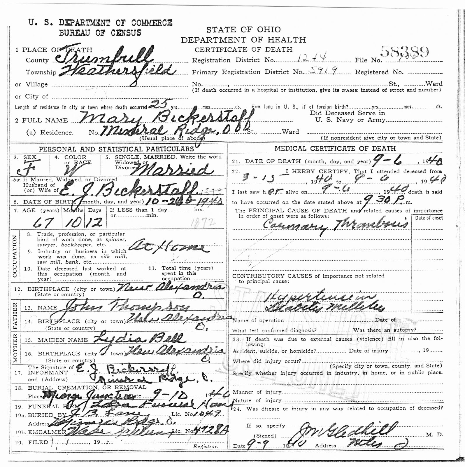 My ancestors and me december 2010 state of ohio department of health certificate of death aiddatafo Image collections
