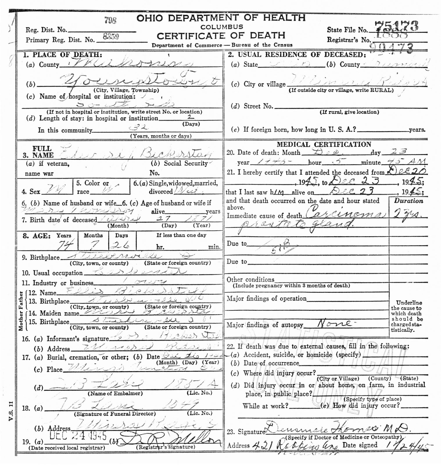 My ancestors and me edward jesse bickerstaff death certificate edward jesse bickerstaff death certificate and obituary 1betcityfo Gallery