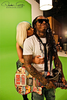 Imagen de Lil Wayne y Nicki Minaj en rodando el video de Knockout