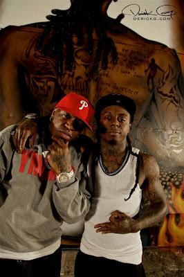 Imagen de Birdman y Lil Wayne en el rodaje del video de Welcome To My Hood del nuevo disco de Dj Khaled We The Best Forever