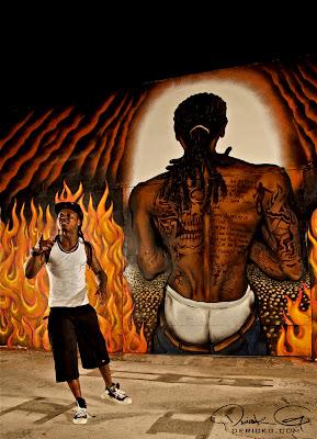 Imagen de Lil Wayne en el rodaje del video de Welcome To My Hood del nuevo disco de Dj Khaled We The Best Forever