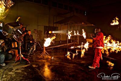 Imagen de Birdman en el rodaje del video de Fire Flame Remix del disco Like Father, Like Son II