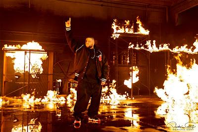 Imagen de Dj Khaled en el rodaje del video de Fire Flame Remix del disco Like Father, Like Son II