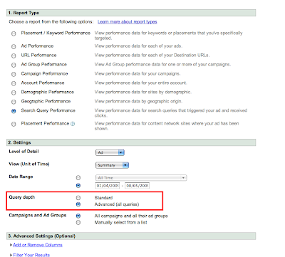 Advanced Search Query Report Option