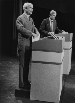 McCain was shorter than the lanky Kimball, he stood on a riser behind the podium