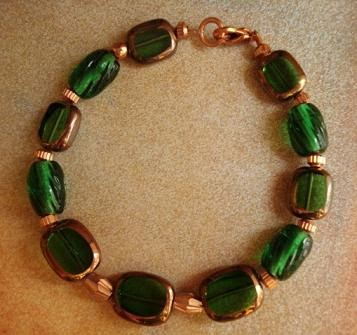 Emerald Green and Copper Bracelet What colors go with