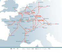 route of high speed rail in Europe