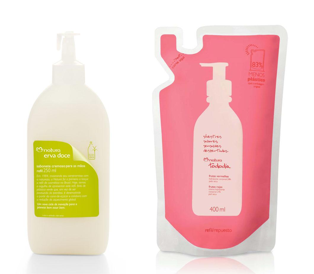 Novas embalagens da Natura, em plástico verde e em sachê