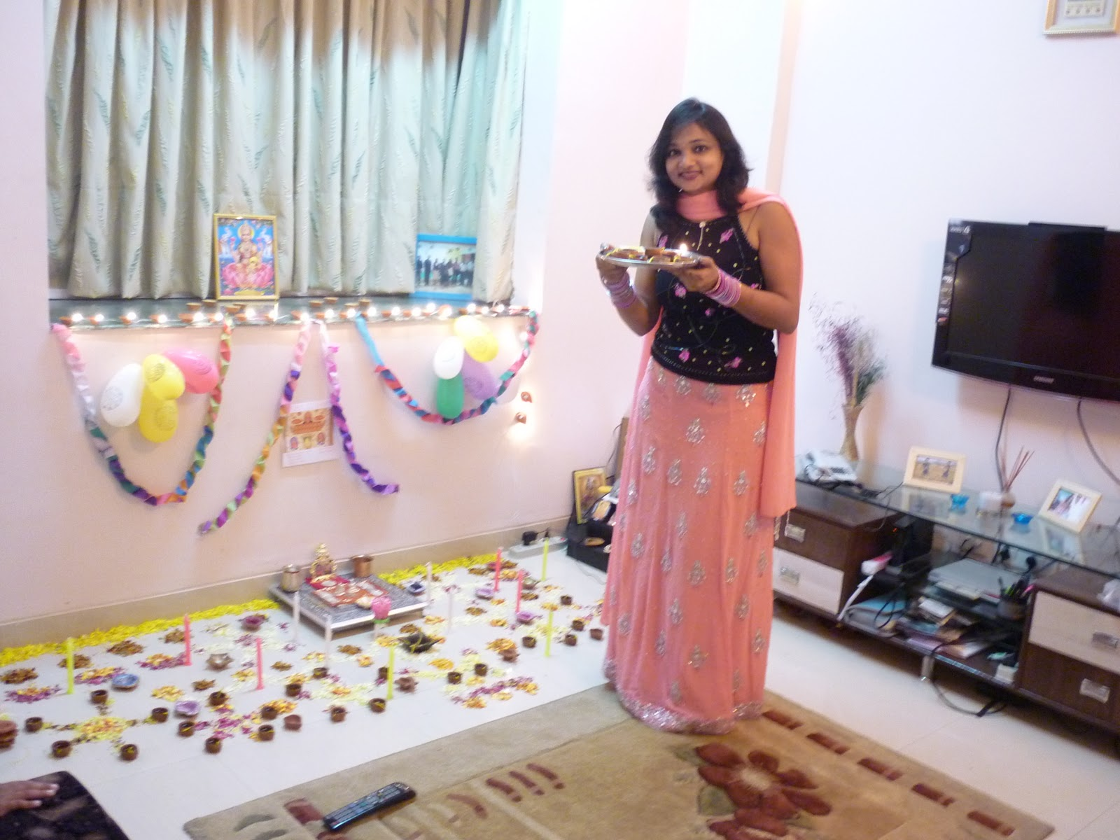 Reacha blogging first diwali in hyderabad new home for How to make diwali decorations at home