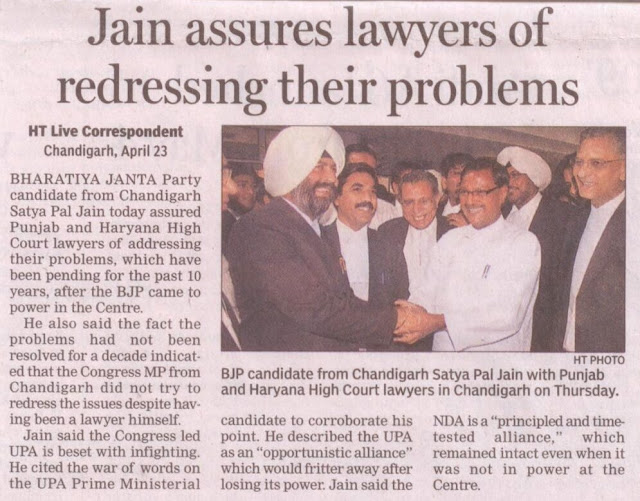 BJP candidate from Chandigarh Satya Pal Jain with Punjab and Haryana High Court lawyers in Chandigarh on Thursday.