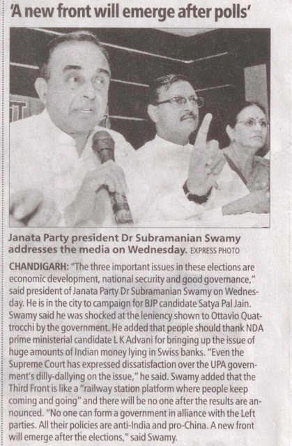 Janata Party president Dr Subramanian Swamy addresses the media on Wednesday.