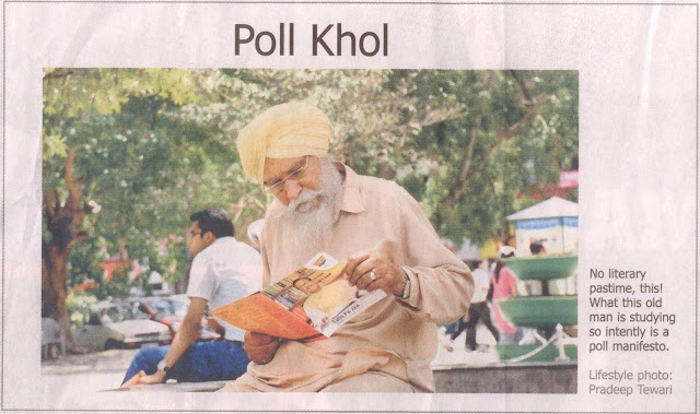 Poll Khol: No Literary pastime, this! What this old man is studying so intently is a poll manifesto.