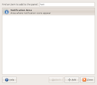 Adding Notification Area Applet to Gnome Panel