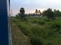 Looking out from train in india