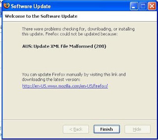 AUS: Update XML File Malformed (200) Firefox Update Error