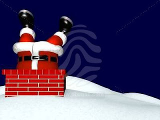 Free Santa Stuck In The Chimney Wallpaper