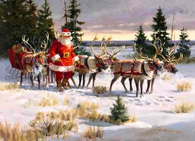 santa with his reindeer