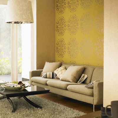 Modern Living Room With Red Exotic Wallpaper. Today the demand extravagant