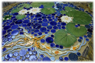 Style with tiles making macy for Decorative pond fish